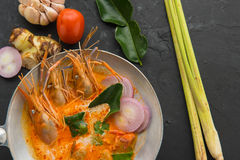 Tom Yum soup or tom yum goong, a Thai traditional spicy prawn so Royalty Free Stock Images