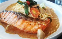 Tom Yum Spaghetti Salmon Royalty Free Stock Photos
