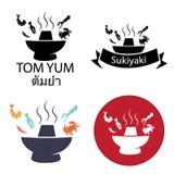 Tom Yum, Sukiyaki, würziges heißes Topflogo und Ikone Stockfoto