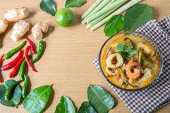 Tom yum thai spice soup, thai food popular Stock Image