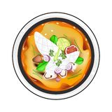 Tom Yum or Thai Spicy and Sour Soup with Squid Stock Photos