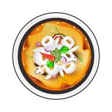 Tom Yum or Thai Spicy and Sour Soup with Squid Royalty Free Stock Images