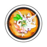 Tom Yum or Thai Spicy and Sour Soup with Squid Royalty Free Stock Photo