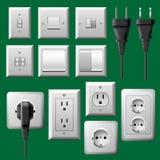 Toma de corriente, interruptor de la luz y conjunto eléctrico del enchufe stock de ilustración