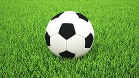 Toma panorámica al balón de fútbol en hierba stock de ilustración