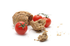 Tomaat en brood Stock Foto