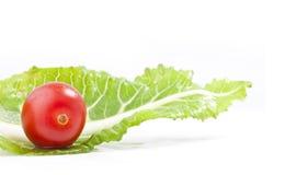 Tomaat en groen blad Royalty-vrije Stock Afbeeldingen