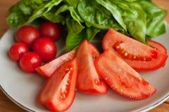Tomaat en Mozarellaplakken met basilicumbladeren Royalty-vrije Stock Foto
