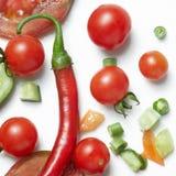 Tomaat en roodgloeiende Spaanse peperpeper royalty-vrije stock fotografie