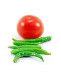 Tomaat en Spaanse pepers Royalty-vrije Stock Afbeeldingen