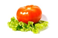 Tomaat met salade 1 Royalty-vrije Stock Foto's
