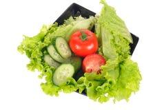 Tomaat, salade, komkommer stock foto