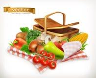 Tomaat, uien, peper, wortel en graan Geïsoleerd 3d vectorpictogram stock illustratie