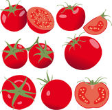 Tomaat Vastgestelde tomaten en plak Geïsoleerdep groente Royalty-vrije Stock Foto's