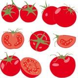Tomaat Vastgestelde tomaten en plak Geïsoleerdep groente Stock Foto's