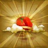 Tomaat, vectorachtergrond Royalty-vrije Stock Afbeelding