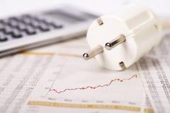 Tomada, calculadora e dinheiro Imagem de Stock Royalty Free