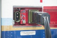 Tomada do conector de alimentação externa dos aviões Fotos de Stock