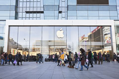Tomada exterior de Apple, área comercial de Xidan, Pequim, China Imagens de Stock