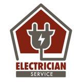 Tomada isolada serviço do ícone do eletricista e fiação atual ilustração do vetor