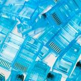 Tomadas azuis do lan dos ethernet rj45 Fotos de Stock Royalty Free