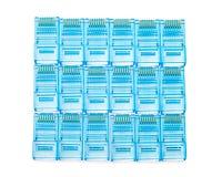 Tomadas azuis do lan dos ethernet rj45 Foto de Stock