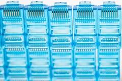 Tomadas azuis do lan dos ethernet rj45 Fotografia de Stock