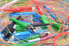 Tomadas e conectores de redes informáticas óticas imagem de stock