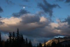 Tomado ao longo do parque nacional de Banff da via pública larga e urbanizada do vale da curva, Alberta, Canadá foto de stock royalty free