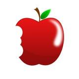 Tomado uma mordida a maçã vermelha brilhante Fotografia de Stock
