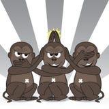 Tomadura de pelo de tres monos sabios Imagenes de archivo