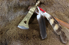 Tomahawk and Feathers Stock Photos