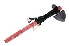 Tomahawk mit einem umsponnenen Veloursleder Stockfotografie