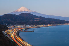 Tomai expressway and Suruga bay with mountain fuji Royalty Free Stock Photos