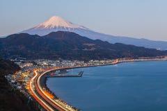 Tomai expressway and Suruga bay with mountain fuji Royalty Free Stock Photos