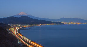 Tomai expressway and Suruga bay with mountain fuji Stock Photo