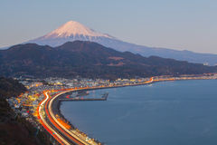 Tomai expressway and Suruga bay with mountain fuji Royalty Free Stock Images