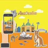 Tomando a foto no telefone esperto de Austrália foto de stock