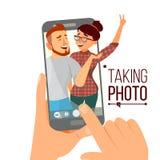 Tomando a foto no vetor de Smartphone Povos de sorriso Amigos modernos que tomam Selfie vertical Smartphone da terra arrendada da ilustração do vetor