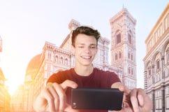 Tomando o selfie em Firenze Fotos de Stock Royalty Free