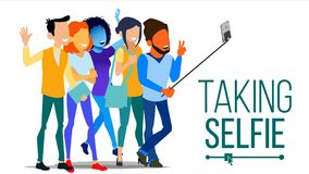 Tomando o vetor de Selfie Homens, riso das mulheres Conceito do retrato da foto Câmera do auto conceito da juventude Plano modern ilustração do vetor