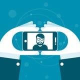 Tomando un selfie - manos con smartphone stock de ilustración