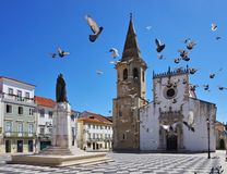 Tomar church. Tomar in Portugal, the church andpigeons Royalty Free Stock Images