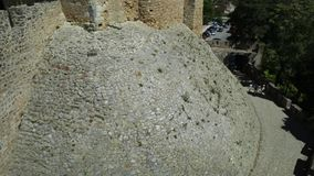 Tomar Fortress and Walls. Aerial view of Church of Convent of Christ and ruins of walls in Tomar, Portugal, Unesco Heritage. Tomar convent-fortress was part of a stock video