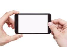 Tomar la foto con el teléfono móvil Imagen de archivo