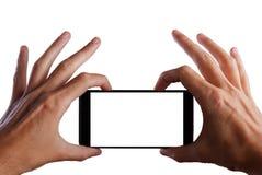 Tomar la imagen con el teléfono móvil, elegante con la trayectoria de recortes para la pantalla fotos de archivo libres de regalías