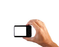 Tomar la imagen con la cámara, cámara con la trayectoria de recortes para la pantalla fotografía de archivo