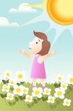 Tomar sol no sol ilustração royalty free