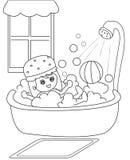 Tomar una página del colorante del baño Fotos de archivo