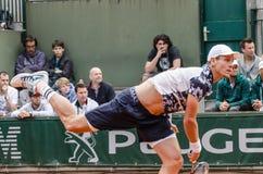 Tomas Berdych στην τρίτη στρογγυλή αντιστοιχία, Roland Garros 2014 στοκ φωτογραφία με δικαίωμα ελεύθερης χρήσης